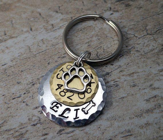 Gold Pet Tags - Gold Cat Tags - Gold Pet ID - Hammered Pet Tag - Dog ID Tags - Dog Tags - Bone Dog Tag - Distressed Pet Tag - Custom Dog IDs