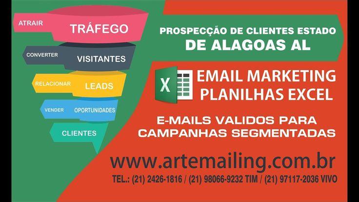 Prospecção De Clientes Estado de Alagoas AL - artemailing.com.br Acesse Nosso Site e Saiba Mais: https://www.artemailing.com.br/ Bases de Dados no FORMATO EXCEL. Sua Campanha De Marketing Com Rapidez E Eficiência. Banco de dados de e-mails no formato EXCEL XLSX de todos os Estados do Brasil endereços de emails segmentados para todas as regiões do Brasil esta categoria contem listas segmentadas para os Estados Brasileiros. O email marketing e uma poderosa ferramenta de comunicação usada pelas…
