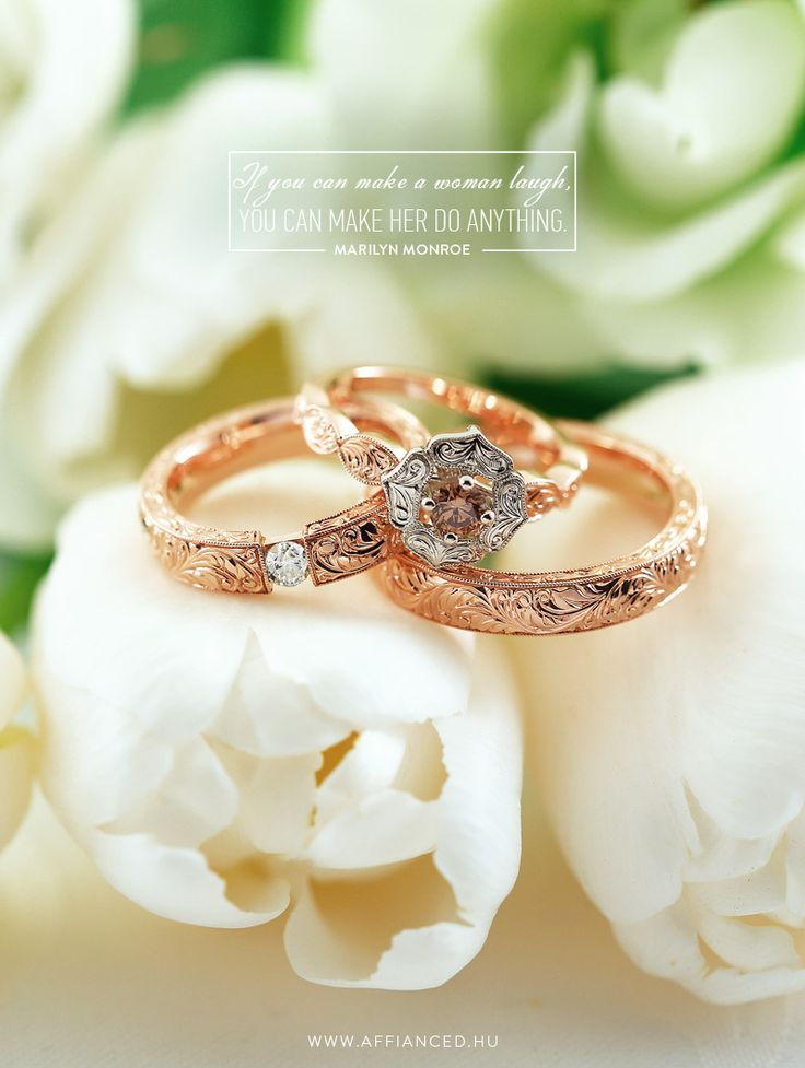 Handcrafted wedding and engagement ring with handmade engraving and brilliants.
