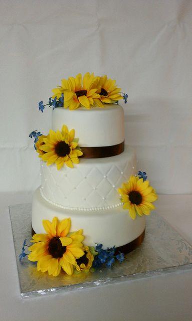 Sunflower Country Wedding Cake by Little Sugar Bake Shop, via Flickr