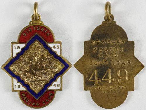 1945-46 VRC Victoria Racing Club Badge - Stokes & Sons - No. 449