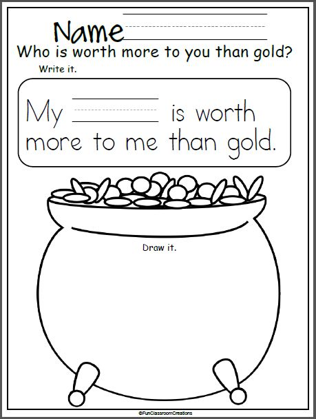 Free St. Patrick's Day writing worksheet. This is a wonderful worksheet to use during the month of March. We read many St. Patrick's day books and stories about leprechauns and gold, so it's great to reinforce that people are worth more than things like gold. I give my students two worksheets, so they can make …