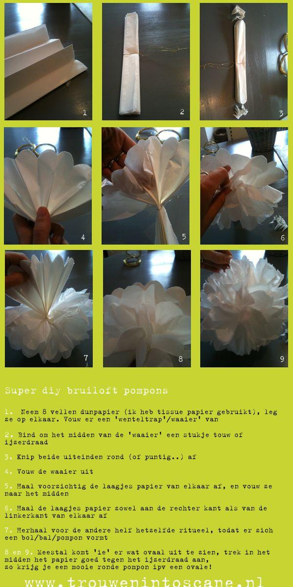 pompons van Papier, de uitleg