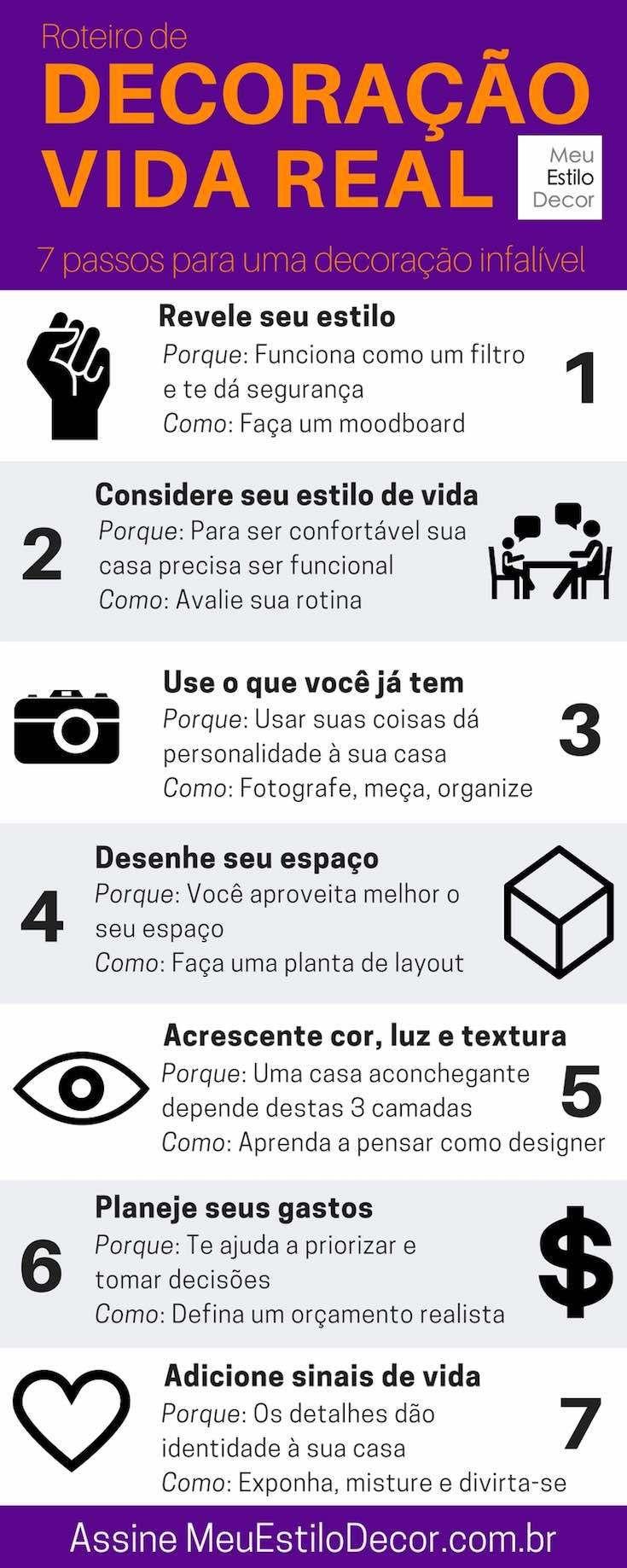 Decoração infalível. Eu te ensino a pensar e decorar sua casa como um designer em 7 passos simples. Sem segredos.