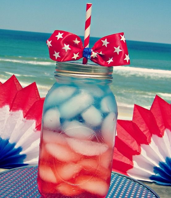 Layered drinks at a July 4th Party.