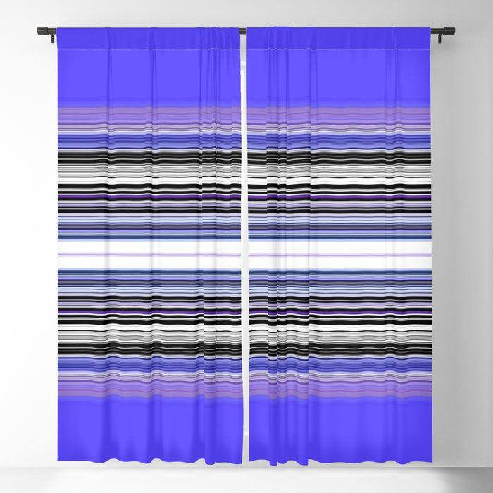 Bright Bold Blue And Purple Stripe Blackout Curtain By Sheila Wenzel Ganny 50 X 84 Set Of Two In 2020 Blackout Curtains Curtains Purple