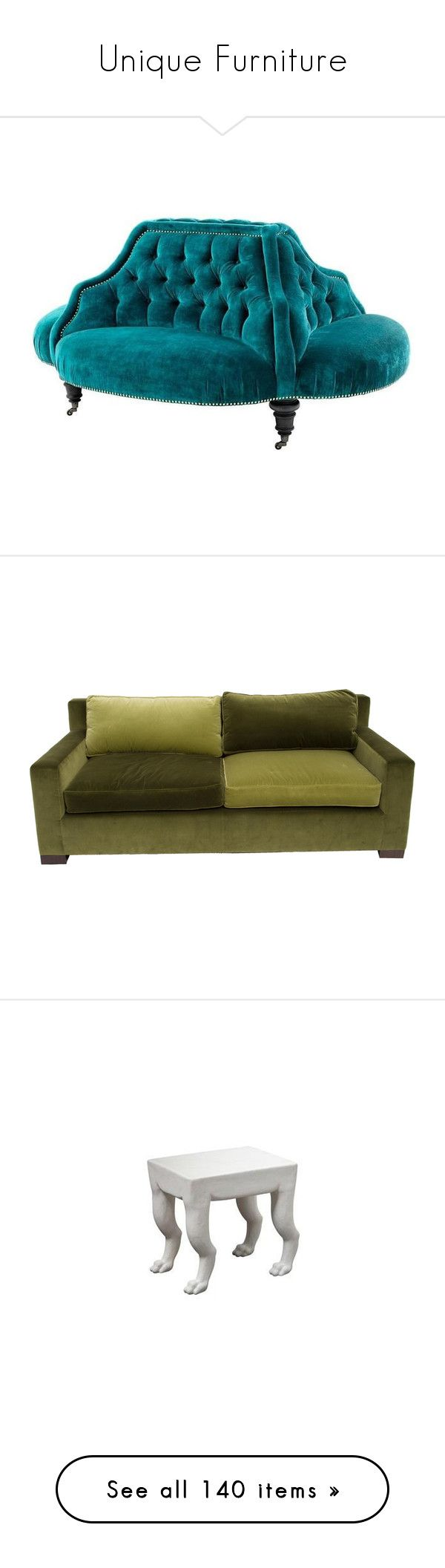 """""""Unique Furniture"""" by mysfytdesigns ❤ liked on Polyvore featuring home, furniture, sofas, green, leather couch, green leather sofa, velvet sofa, green furniture, velvet couch and oversized furniture"""
