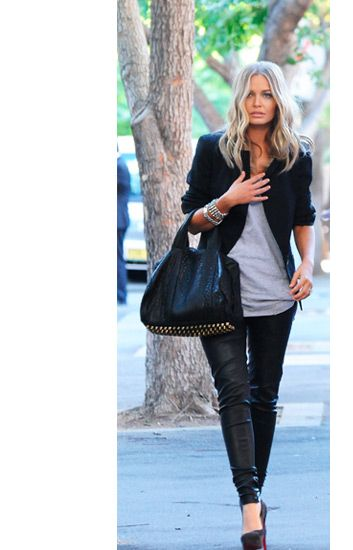 Leather pants simple tee blazer and statement bag perfect!