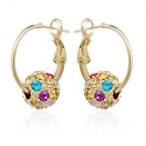 Colorful Austrian Crystal Ball Hoop Gold Plated Earring