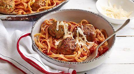 Fettuccini and Chicken Meatballs