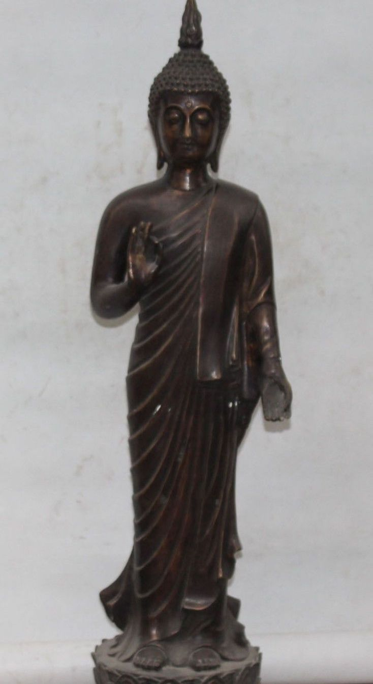 "FREE SHIPPING 29"" Buddhism Bronze Stand Thailand Buddha On Lotus Thailand Buddha Sculpture #Affiliate"