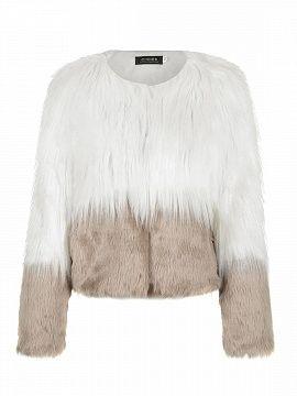 Camel Color Block Faux Fur Coat