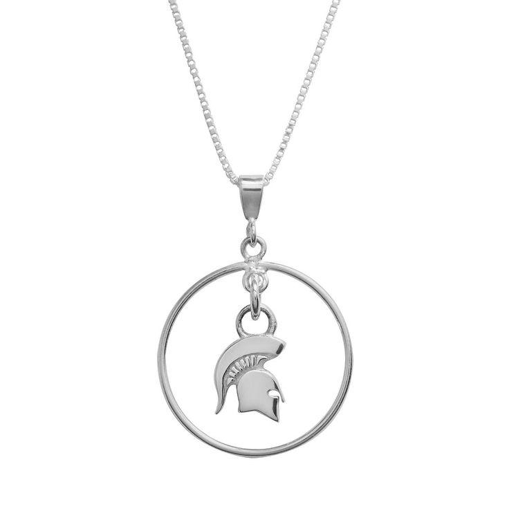 "Dayna U Michigan State Spartans Sterling Silver Logo Pendant, Women's, Size: 16"", Grey"