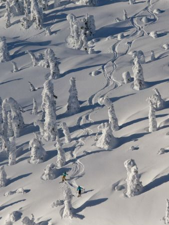 Skiing Through the Snowghosts at Whitefish Mountain Resort, Montana, USA