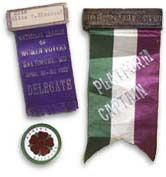 Suffrage ribbon from the United States demonstrating the transfer of the colors purple, white and green to the American suffrage movement.