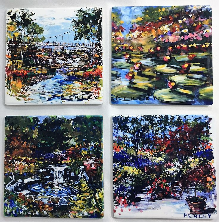 A second set of beautiful stone coasters featuring Floral paintings by artist, Steve Penley.