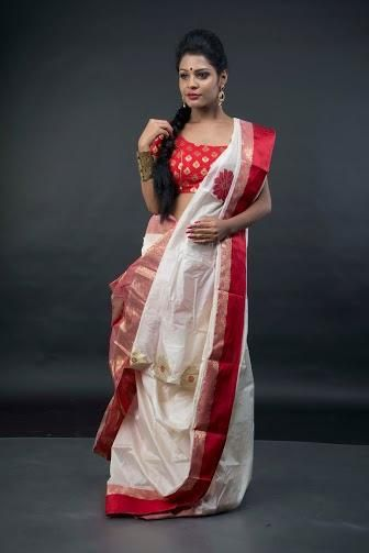 9b9b5561b8 Pure Gorod Silk Saree in Off White and Red | Bengal Handloom Cotton ...