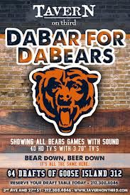 AVERN on Third is the #1 Chicago Bears bar in New York City and plays every Bears game with sound. Sip on one of our 20 draft beers while watching Matt Forte, Brandon Marshall, and Jay Cutler team up and score touchdowns all season long.