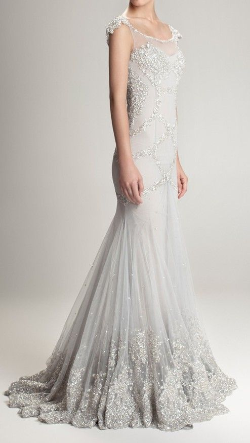 Gorgeous silver grey wedding gown with silver beading.