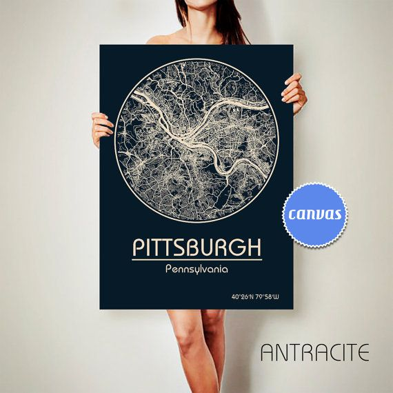 PITTSBURGH Pennsylvania CANVAS Map Pittsburgh Pennsylvania Poster City Map Pittsburgh Pennsylvania Art Print Pittsburgh Pennsylvania poster Pittsburgh Pennsylvania map art Poster Pittsburgh Pennsylvania map  Get a discount for multiple maps: https://www.etsy.com/shop/ArchTravel  ♛COLORS,