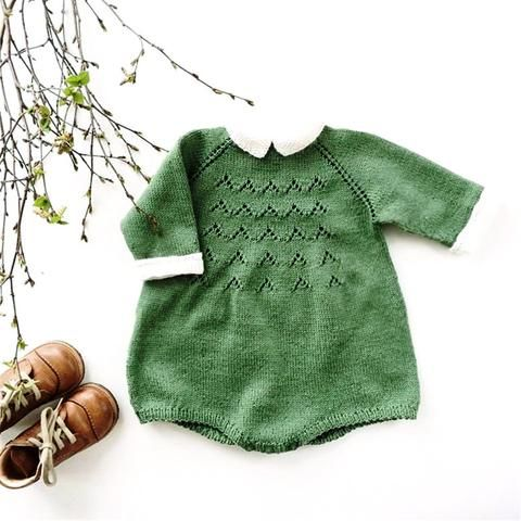 Cotton Knit Vintage-Style Romper w. Contrast collar   Unisex