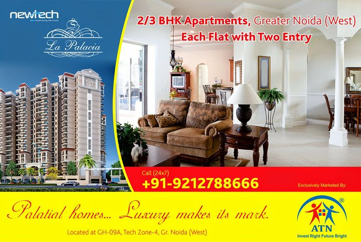 ATN Infratech, real estate developers and promoters present palatial 2/3 BHK apartments in Noida Extension at affordable prices in Newtech La Palacia. Here is your luxury residential projects offering amenities for a blissful life.
