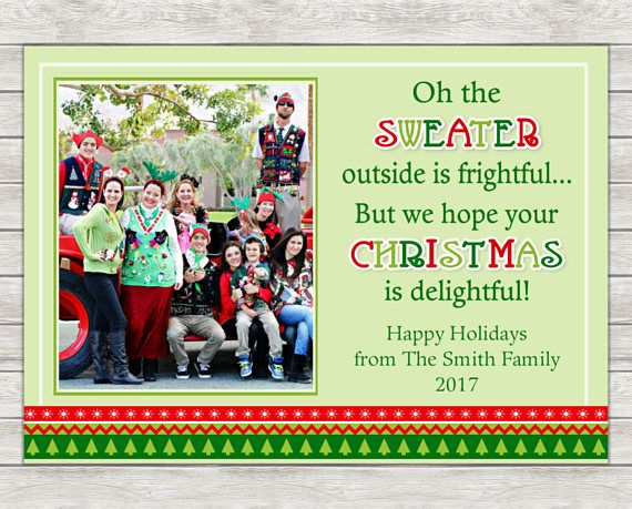Ugly Christmas Sweater Greeting Card Tacky Sweater Photo
