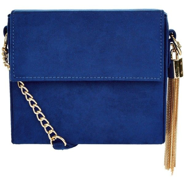 New Look Tassel Chain Shoulder Bag ($23) ❤ liked on Polyvore featuring bags, handbags, shoulder bags, blue, blue handbags, blue purse, blue shoulder bag, tassel handbag and chain strap purse
