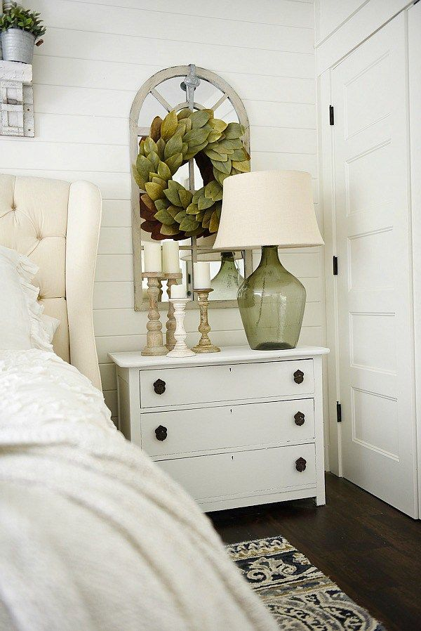 Neutral Master Bedroom Nightstand Makeover With Magnolia Home Paint In One Horn White A