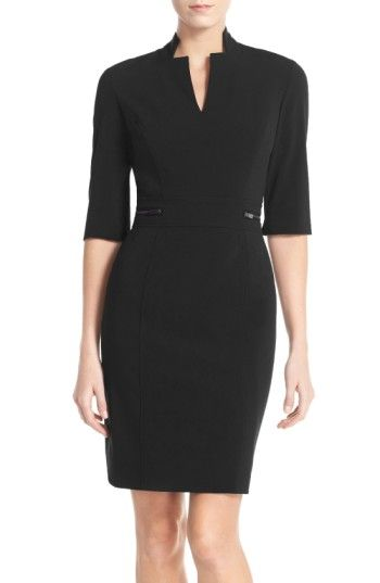 Free shipping and returns on TahariBi-Stretch Sheath Dress (Regular & Petite) at Nordstrom.com. An inverted notch collar distinguishes the architecturaltailoring of this zipper-accented sheath that's versatile enough for work, a night on the town and beyond.