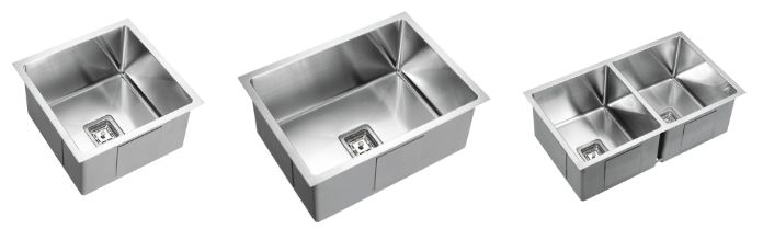 Deep bowl stainless steel square drop in/undermount kitchen sinks without drainer: 450x450x235mm deep single bowl stainless steel square kitchen sinks, 600x450x235mm deep single bowl stainless steel square kitchen sinks, 775x450x235mm deep double bowls stainless steel square kitchen sinks from Bathrooms and Kitchens Builders Express Underwood, website www.bathroomsnkitchens.com.au