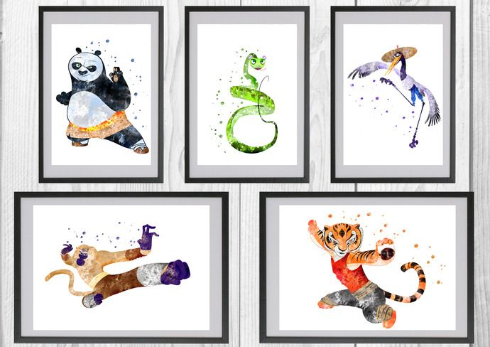 Disney Print Watercolor Kung Fu Panda Po Wall Art Party Decor Nursery Room Wall Art D491 Kung Fu Panda INSTANT DOWNLOAD