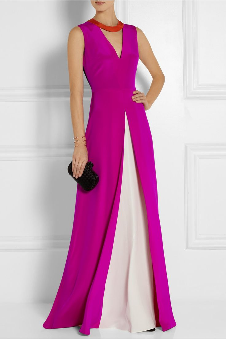 Roksanda Ilincic | Layn color-block silk-crepe gown | NET-A-PORTER.COM This could be a relatively easy DIY gown.