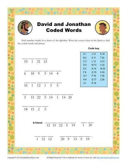 david and jonathan codewords - David Jonathan Coloring Pages