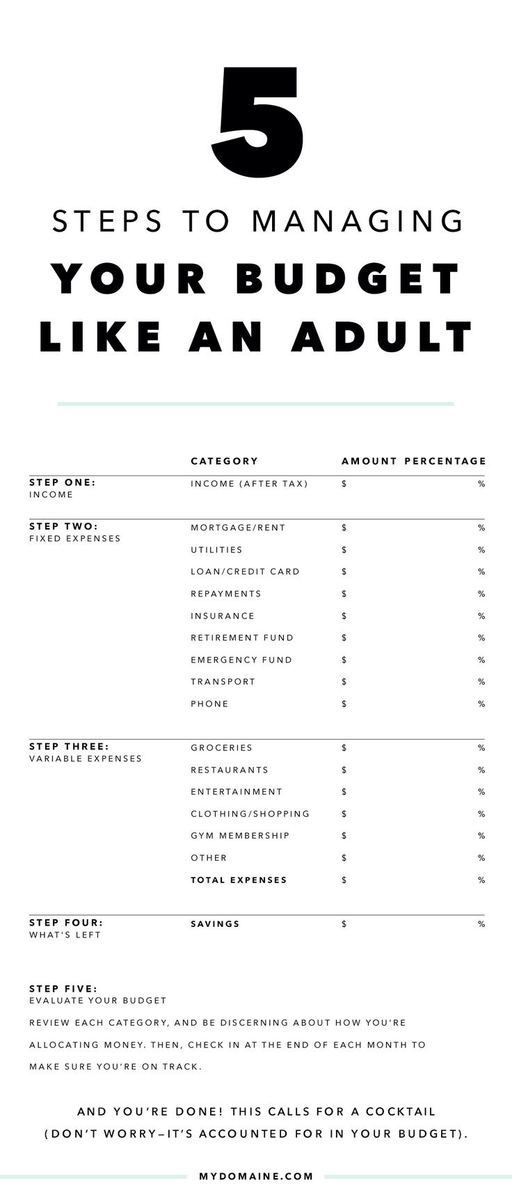 Worksheet How To Budget Your Money Worksheet 1000 ideas about budgeting worksheets on pinterest everything you need to know manage your finances like an adult via mydomaine