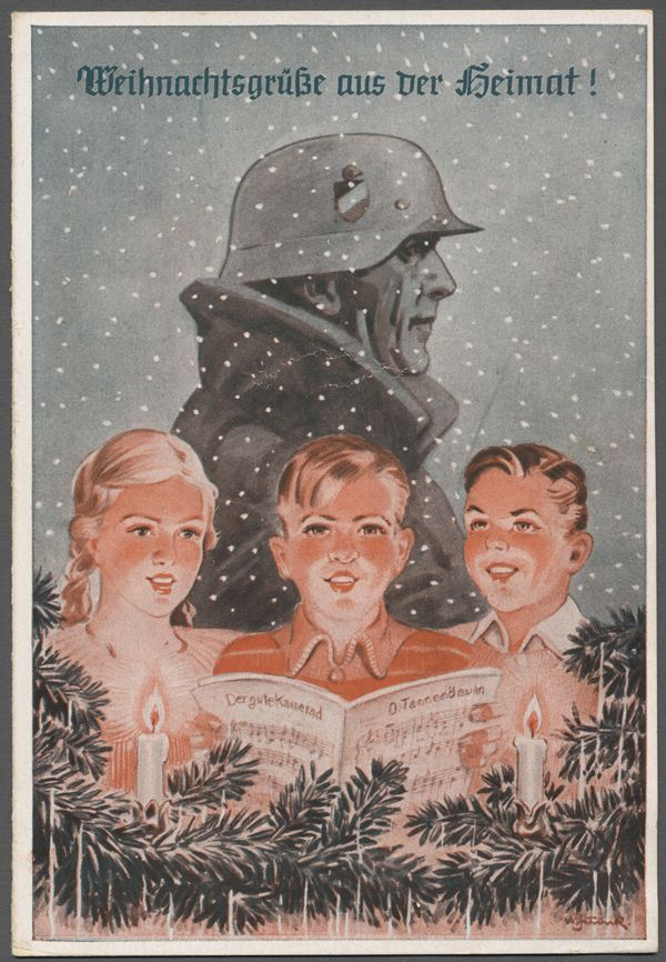 """""""Christmas greetings from the Homefront!"""" The children of a Nazi soldier missing him at Christmas."""