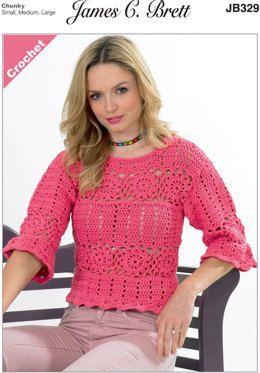 Ladies Sweater in James C. Brett Noodles Chunky - JB329 - Leaflet