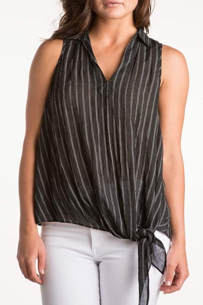 Naked Zebra Side Tie Stripe Shirt