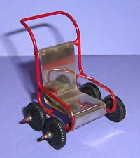 VINTAGE DOLLS HOUSE EARLY BARTON RARE METAL PUSHCHAIR