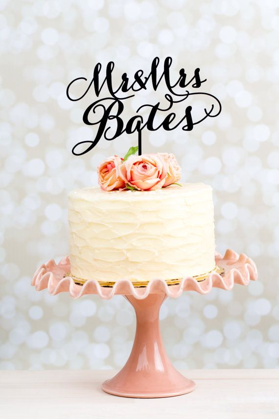 Wedding Cake Topper Custom Last Name Gold by betteroffwed