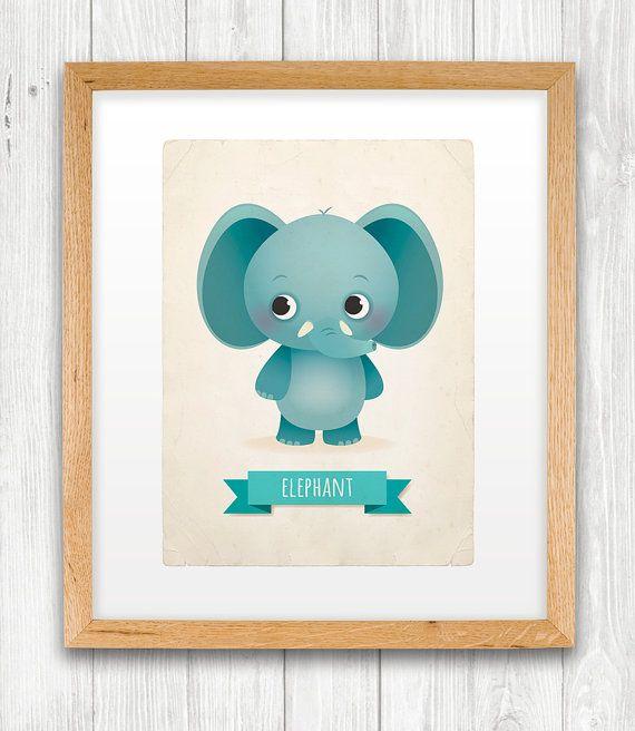 Elephant art print nursery illustration 5x7in by IreneGoughPrints, €9.95