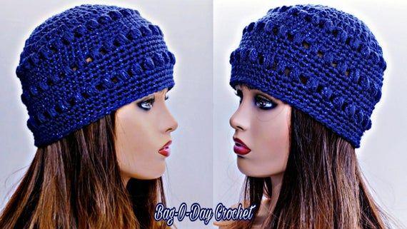 The Galaxy Blue Crochet Beanie Crochet Pattern Digital Etsy Crochet Hat Tutorial Crochet Patterns Hats Women Knitting Patterns Hats Women