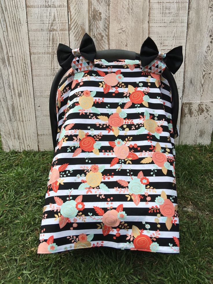 Baby Girl Floral Striped Car Seat Canopy Set, Car Seat Cover, Car Seat Tent, Modern Stripes and Roses, Floral, Infant Carrier Cover by SugarPeasCreations on Etsy https://www.etsy.com/listing/271064346/baby-girl-floral-striped-car-seat-canopy