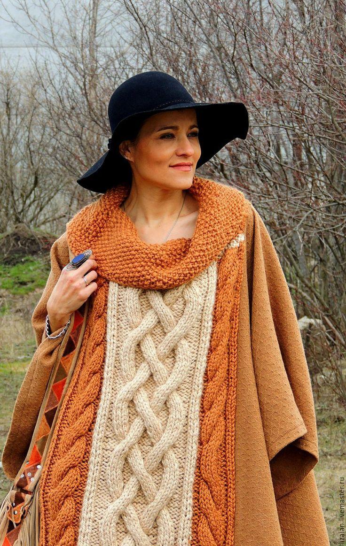 Купить Пончо из шерсти с аранами (№73) - рыжий, пончо бохо, бохо пончо, одежда бохо