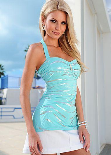 Aqua & Silver Foil Print Halter Neck Top $34 Venus.com
