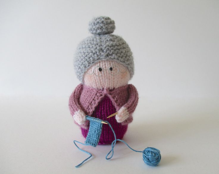 GRANNY DOLL KNITTING PATTERNS  Granny is knitting a tiny scarf.  She would make a lovely gift for Mother's Day or Grandmother's Day.  Her glasses are made from jewellery wire, and her knitting needles are cocktail sticks.  As these pieces can be sharp, Granny is not a toy suitable for young children, but she would be a sweet decorative piece.  PLEASE NOTE:  The price is for the knitting pattern and instructions to knit your own Granny doll; you are not buying a finished doll.    THE PATTERN…