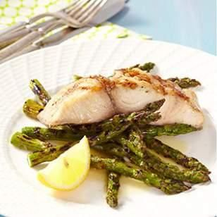 Grilled Mahi-Mahi & Asparagus with Lemon Butter Recipe