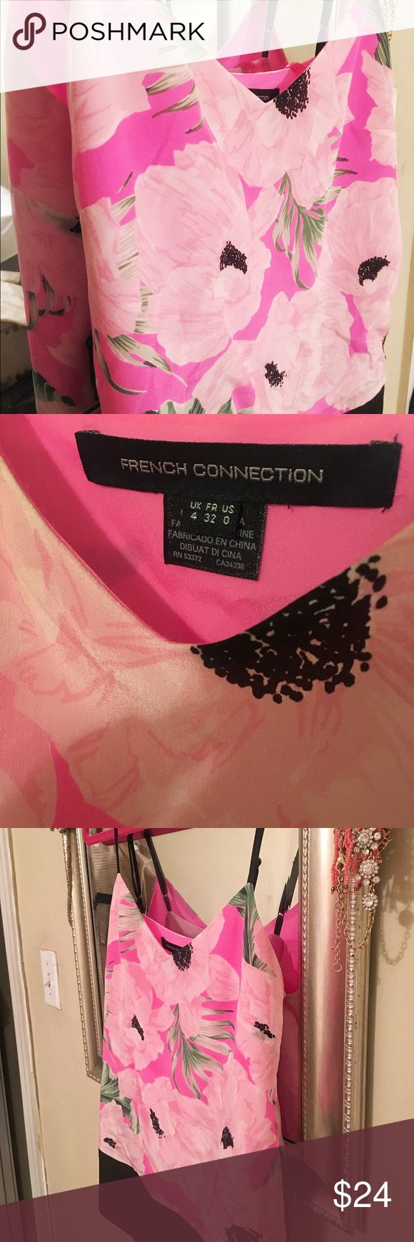 French Connection pink floral silk summer camisole French Connection, US 2, never worn silk tank. Gorgeous bright pink floral print, black spaghetti straps. Great for brunching, bar hopping or sprucing up business attire. French Connection Tops Tank Tops