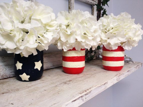 Stars and Stripes Mason Jars (Set of 3). Inspired by the American