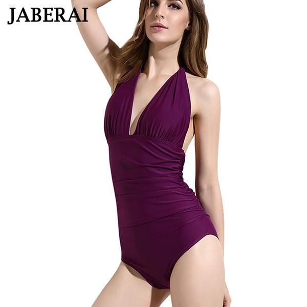 JABERAI Vintage Women Swimwear Sexy Backless Monokini Push Up One Piece Swimsuit Deep V Neck Bathing Suit Female Bodysuit